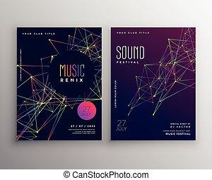 affiche, résumé, lignes, aviateur, musique, gabarit, stylique numérique