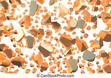 affiche, résumé, moderne, rendre, informatique, conception, gros morceaux, bannière, gold., blanc, sur, 3d, shapes., couverture, engendré, fond, minimalistic, géométrique, affiche, marquer, cassé, toile de fond
