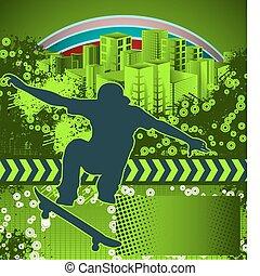 affiche, résumé, skateboarder, grunge