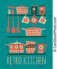affiche, retro, cuisine