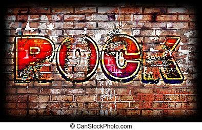 affiche, rocher, grunge, musique
