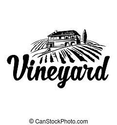 affiche, rural, hills., champs, villa, illustration, vignoble, vecteur, noir, logotype, vendange, étiquette, icon., blanc, paysage