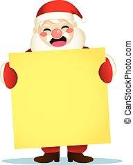 affiche, santa, tenue, heureux