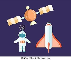 affiche, satellite, voler, fusée, astronaute