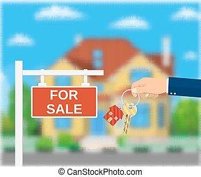 affiche, signe., vente, agent, keys., main