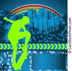 affiche, skateboarder, grunge