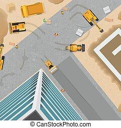 affiche, sommet, construction, vue