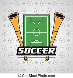 affiche, sport, football, cornets, football