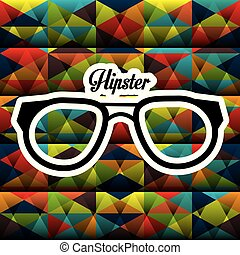 affiche, style, hipster, lunettes