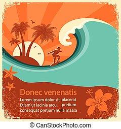 affiche, surfeur, vieux, mer, vague