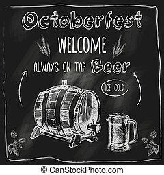 affiche, tableau noir, robinet, bière, conception