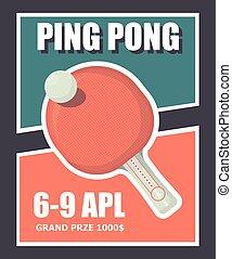 affiche, tennis, ping, illustration, équipement, vecteur, day.ping, raquette, table, pong, sport, bannière, ball.