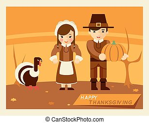 affiche, thanksgiving, retro