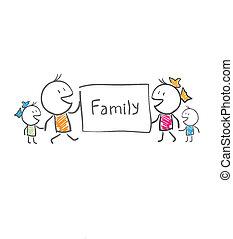 affiche, tient, famille