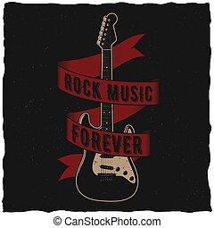 affiche, toujours, musique, rocher