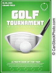 affiche, tournoi, golf, gabarit
