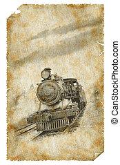 affiche, train, vieux