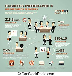 affiche, travail, présentation, bureau, infographics