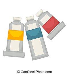 affiche, trois, tubes, isolé, vecteur, blanc, peinture