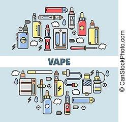 affiche, vape, moderne, appareils, promotionnel, produits, fumer