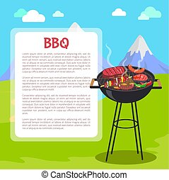 affiche, vecteur, barbecue, illustration, montagnes