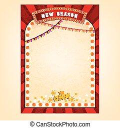 affiche, vecteur, cirque
