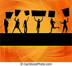 affiche, vecteur, fond, protesters, foule