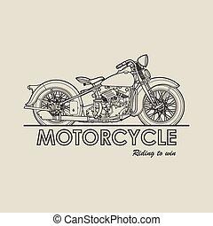 affiche, vecteur, motocyclette, illustration, retro