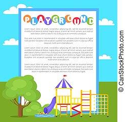 affiche, vecteur, parc, cour de récréation, illustration