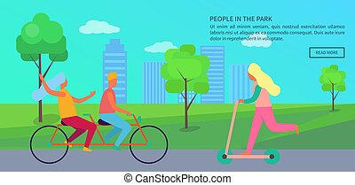affiche, vecteur, parc, illustration, gens