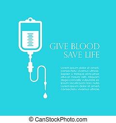affiche, vecteur, sanguine, donner