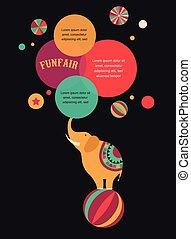 affiche, vendange, cirque, parole, fond, éléphant, bulles