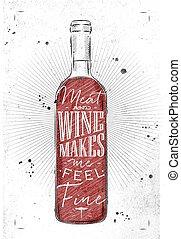 affiche, viande, vin