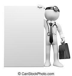affiche, vide, 3d, médecin de famille