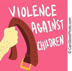 affiche, violence, illustration, vecteur, contre, gabarit, bannière, enfants