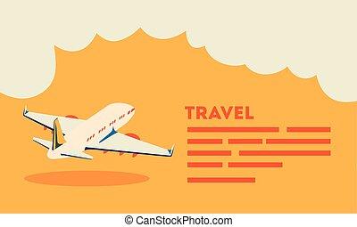 affiche, voler, avion, voyage temps
