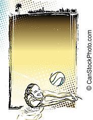 affiche, volley-ball plage, fond