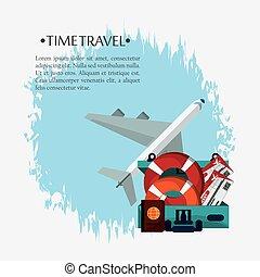 affiche, voyage, temps, promotion, vacances