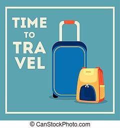 affiche, voyage temps, valises, icônes
