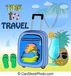 affiche, voyage, vecteur, illustration., temps