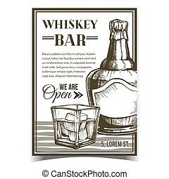 affiche, whisky, vecteur, barre, créatif, publicité
