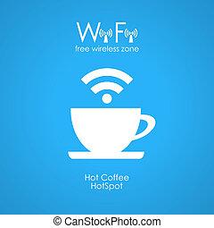 affiche, wifi, café, gratuite