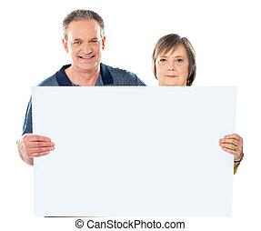 afficher, couple, vide, sourire, vieilli, bannière