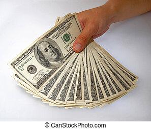 afficher, factures, dollar, paquet, main