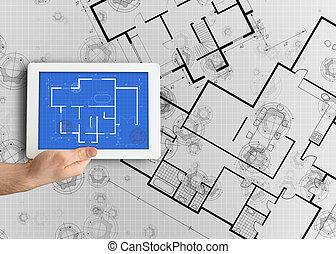 afficher, tablette numérique, plan
