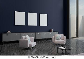 affiches, blanc, salle moderne, vide