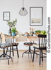 affiches, dans, clair, salle manger
