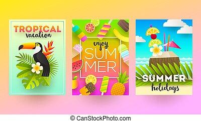affiches, ensemble, été, vacances tropicales, fetes