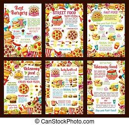 affiches, fastfood, vector, restaurant menu