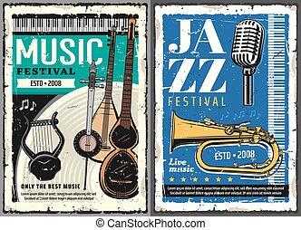 affiches, festival., folk-music, concert, jazz muziek